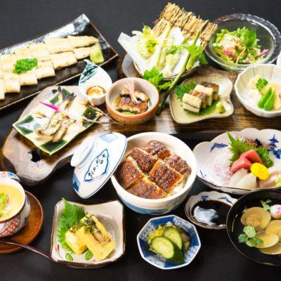 栄のうなぎ料理専門店「鰻う おか冨士」の忘年会にぴったりなコース料理